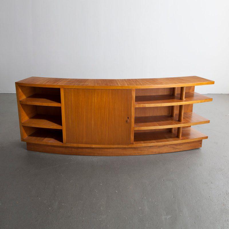 Early curved credenza in pau marfim wood