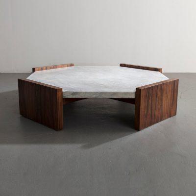 Octagonal coffee table in jacaranda