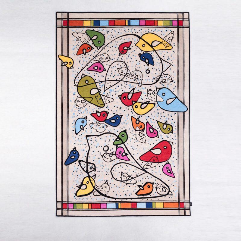 'Birds' carpet in wool