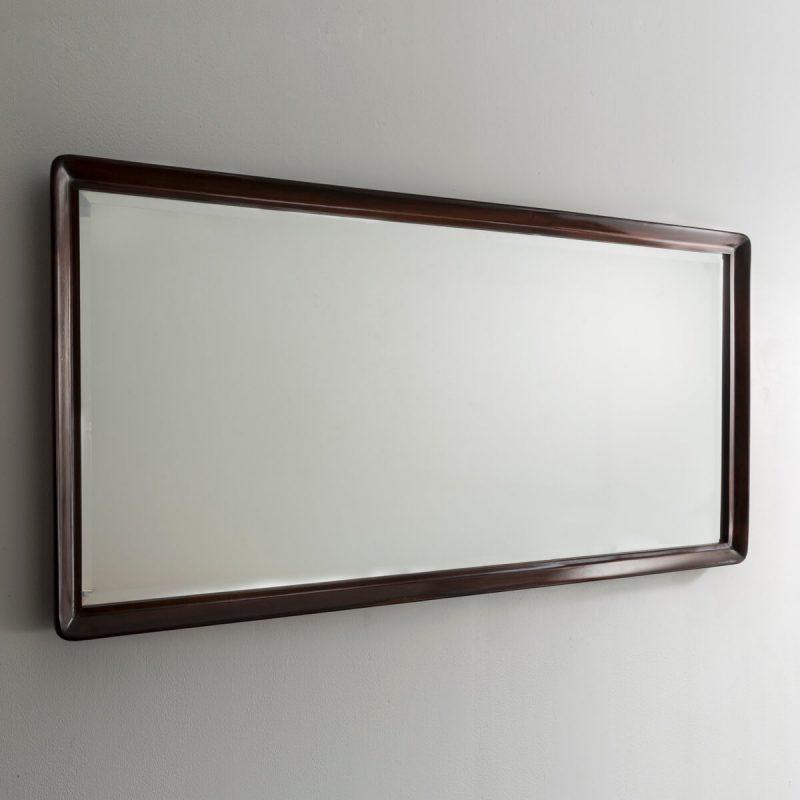 Large rectangular jacaranda mirror with beveled edge.