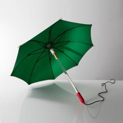 Illuminated wearable umbrella sculpture.