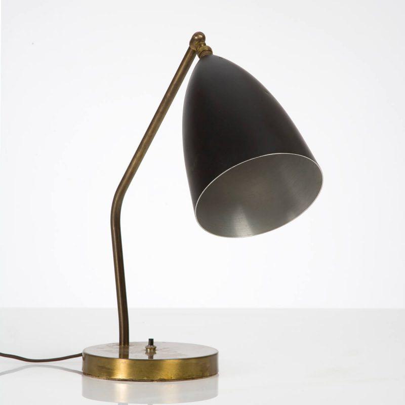 Task lamp in aluminum and brass; original black paint